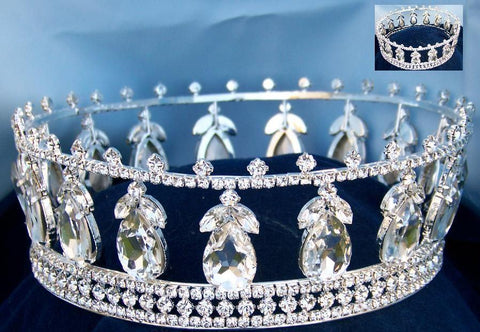 Full Beauty Pageant Queen Princess Bridal rhinestone crown tiara The Michelle Louise - CrownDesigners