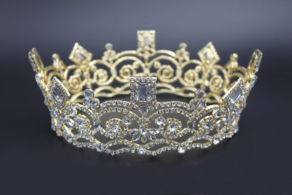 Georgina Regal Gold Rhinestone Pageant Full Crown, CrownDesigners