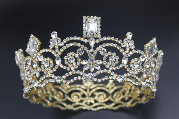 Georgina Regal Gold Rhinestone Pageant Full Crown