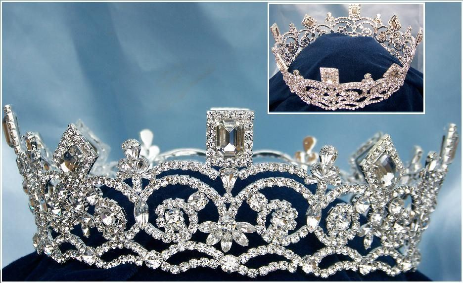Georgina Regal Silver Rhinestone Pageant FULL Crown, CrownDesigners