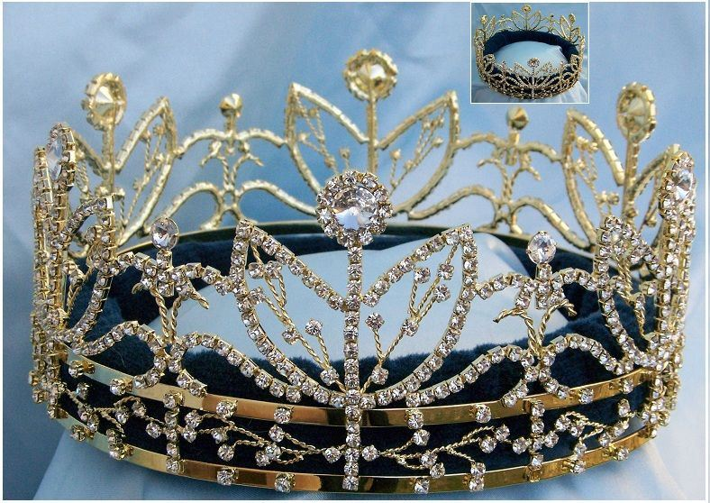 Victory Majestic Rhinestone Full Gold King Queen Crown - CrownDesigners
