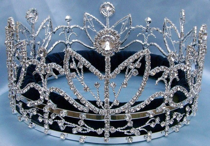 Victory Majestic Rhinestone Full Silver King Queen Crown - CrownDesigners