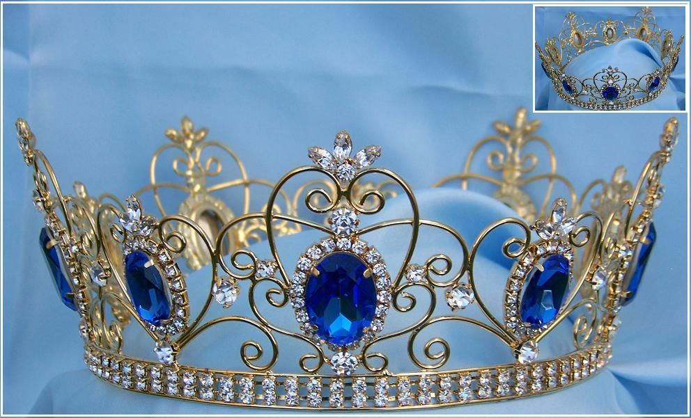 Rhinestone Imperial Celtic Jewelled Men's gold Blue Crown, CrownDesigners