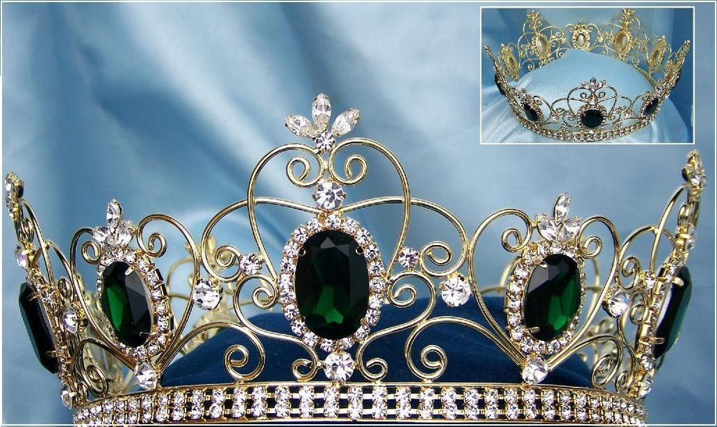 Rhinestone Full Gold Green Emerald Crown, CrownDesigners