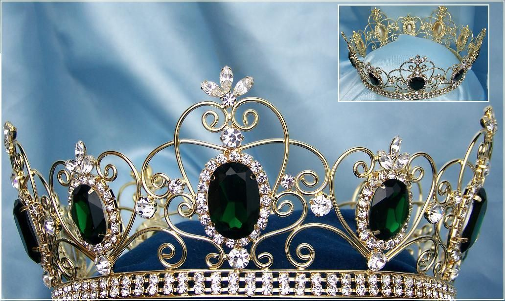 Rhinestone Full Gold Green Emerald Crown - CrownDesigners