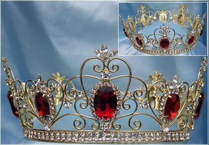 Imperial Celtic Jeweled Unisex Gold Ruby Red Rhinestone Crown
