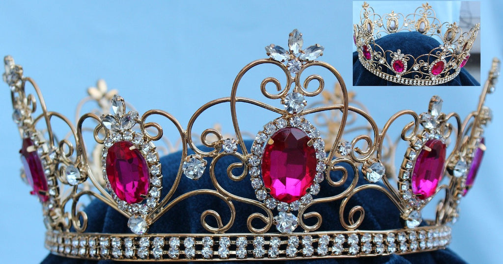 Rhinestone Imperial Celtic Dark Pink Unisex gold Full Crystal Crown, CrownDesigners
