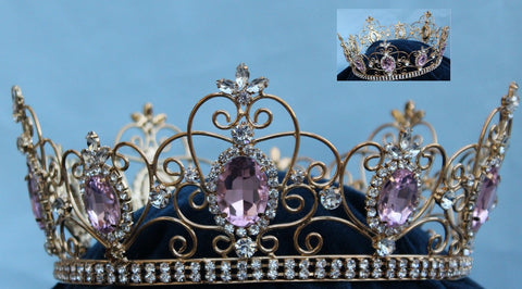 Rhinestone Imperial Celtic Light  Pink Unisex gold Full Crystal Crown - CrownDesigners