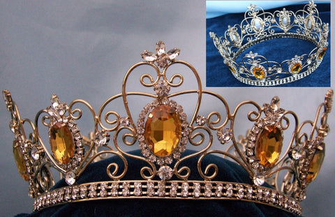 Rhinestone Imperial Celtic Unisex Light Amber Yellow Gold  Full Crystal Crown, CrownDesigners