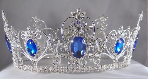 Rhinestone Imperial Celtic Jewelled Mens Silver blue Crown - CrownDesigners