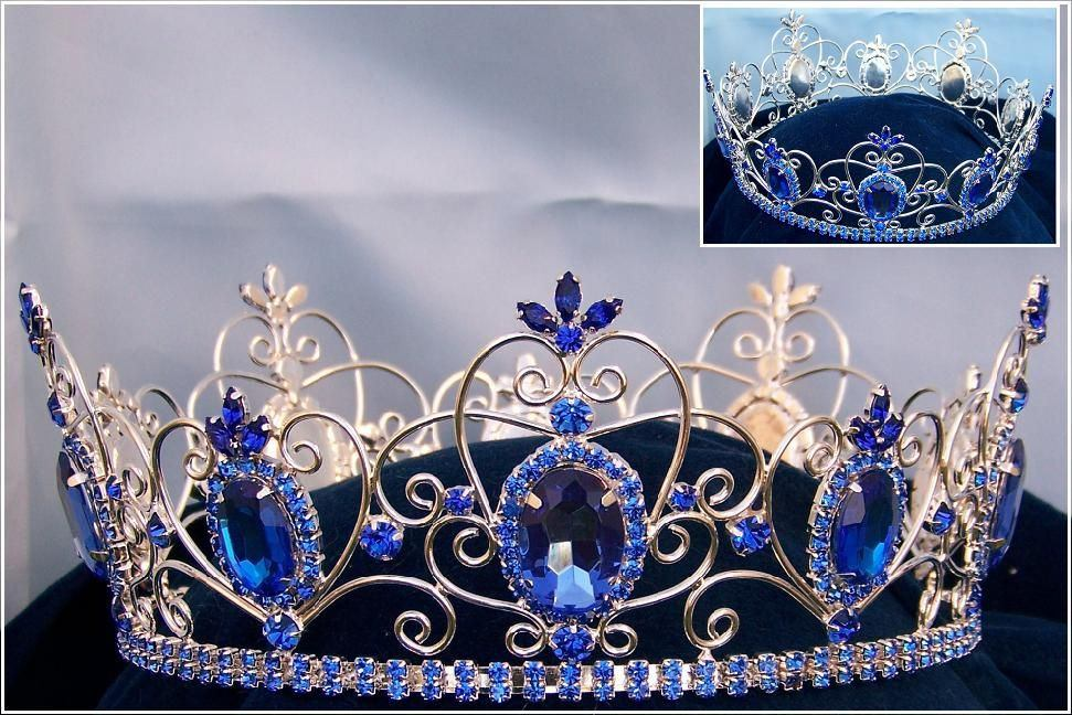 Rhinestone Imperial Celtic Jewelled Mens Silver blue Crown, CrownDesigners