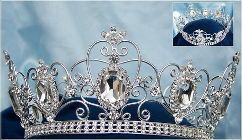 Rhinestone Imperial Celtic Jewelled Unisex Silver Crystal Crown, CrownDesigners