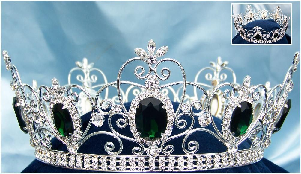Imperial Celtic Rhinestone Green Emerald Silver Crown - CrownDesigners