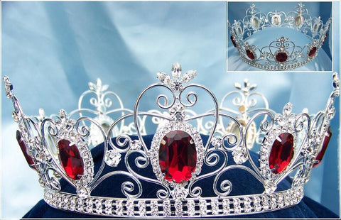 Rhinestone Full Unisex Silver Ruby Red Crown - CrownDesigners