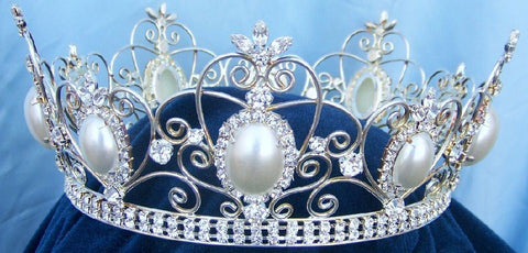 Rhinestone Queen King Full Silver Rhinestone and Pearl Crown, CrownDesigners
