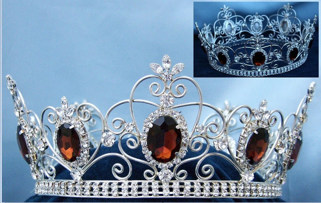 Rhinestone Imperial Celtic Dark Brown Amber Unisex Silver Crystal Crown, CrownDesigners