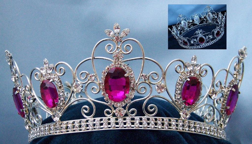 Rhinestone Imperial Celtic Dark Pink Fucsia Unisex Silver Crystal Crown, CrownDesigners