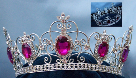 Rhinestone Imperial Celtic Dark Pink Fucsia Unisex Silver Crystal Crown - CrownDesigners