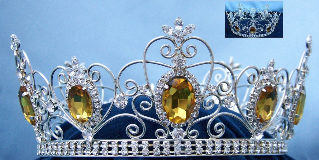 Rhinestone Imperial Celtic Light Amber yellow Unisex Silver Crystal Crown - CrownDesigners