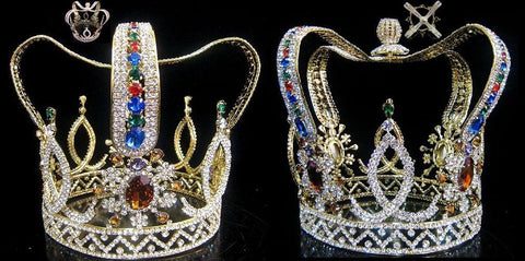 The Royal Stanislaus Crown King Full Mens Rhinestone Gold Crown, CrownDesigners