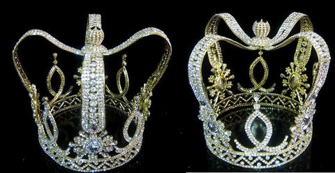The Royal Stanislaus Crown King Full Mens Rhinestone Gold Crown - CrownDesigners