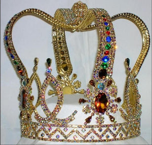 The Royal Stanislaus Crown King Full Mens Rhinestone Aurora Borealis Gold Crown - CrownDesigners