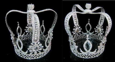 The Royal Stanislaus Crown King Full Mens Rhinestone Silver Crown - CrownDesigners