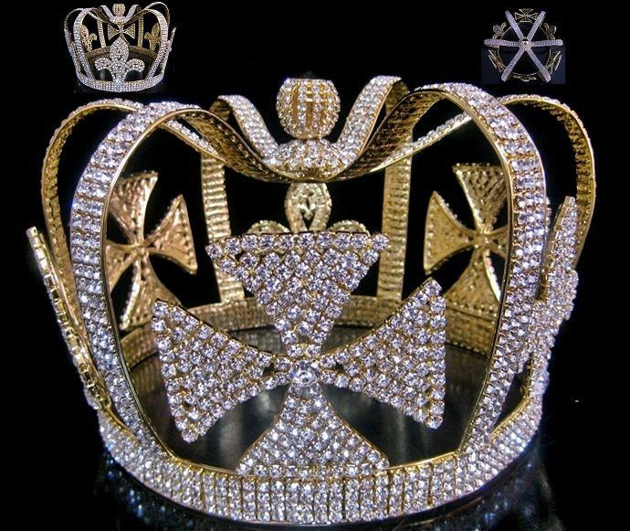 The Mardi Gras Royal Gold Rhinestone Full Men's King Crown - CrownDesigners