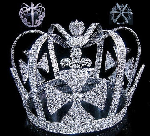 The Mardi Gras Royal Silver Rhinestone Full Mens King Crown - CrownDesigners