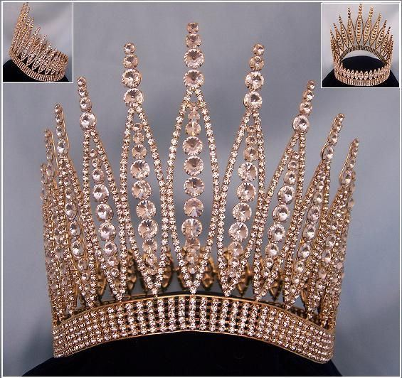 Queen of The 7 Seas RHINESTONE BEAUTY PAGEANT RHINESTONE FULL GOLD CROWN - CrownDesigners