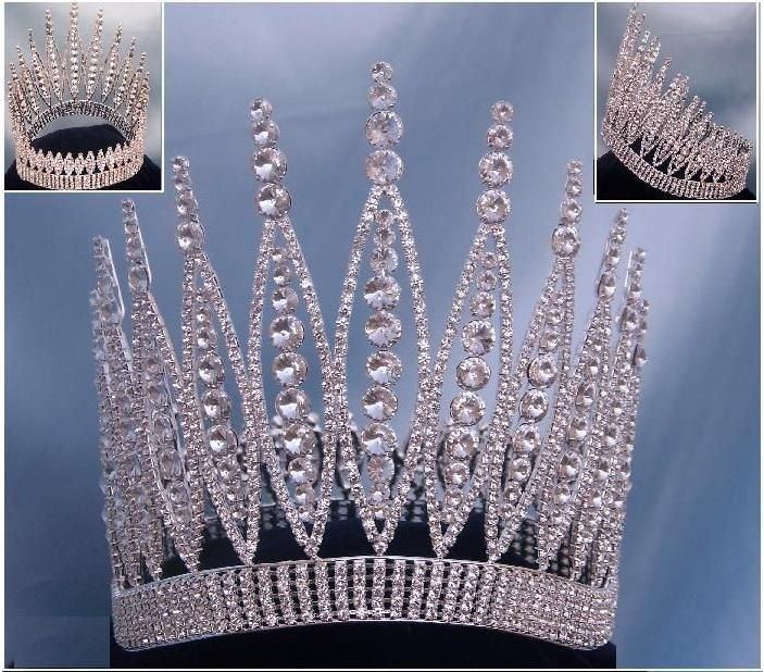 Queen Of The 7 Seas Rhinestone Beauty Pageant Full Silver Crown - CrownDesigners