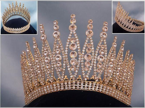 Queen of The 7 Seas RHINESTONE BEAUTY PAGEANT RHINESTONE FULL GOLD, CrownDesigners