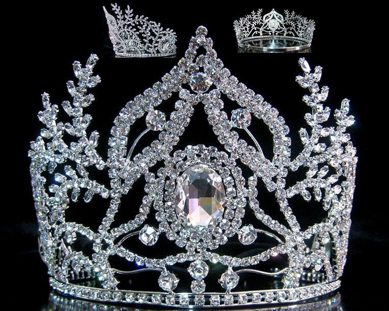 Beauty Pageant Rhinestone Queen Ceremonial Silver Crown Tiara - CrownDesigners