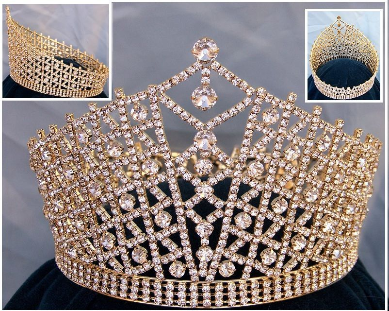 Miss Beauty Pageant Queen Rhinestone Gold full Crown Tiara, CrownDesigners