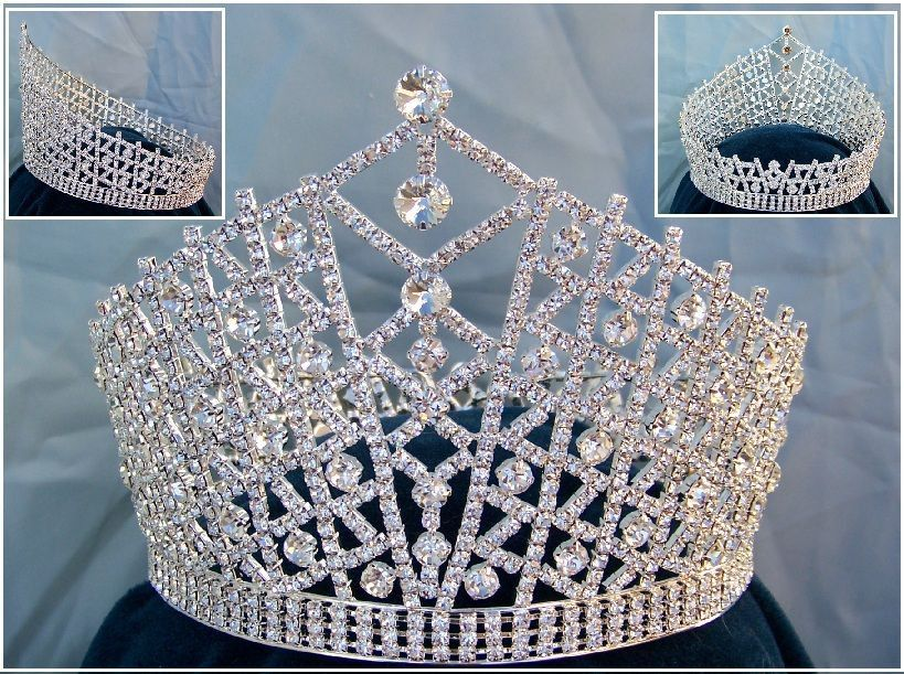 Miss Beauty Pageant Queen rhinestone Sillver Full Crown Tiara - CrownDesigners
