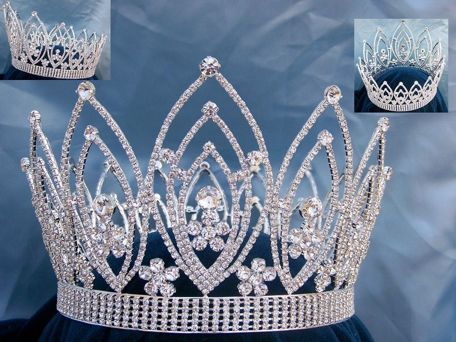 Imperial Rhinestone Full Round Queen or King Crown - CrownDesigners