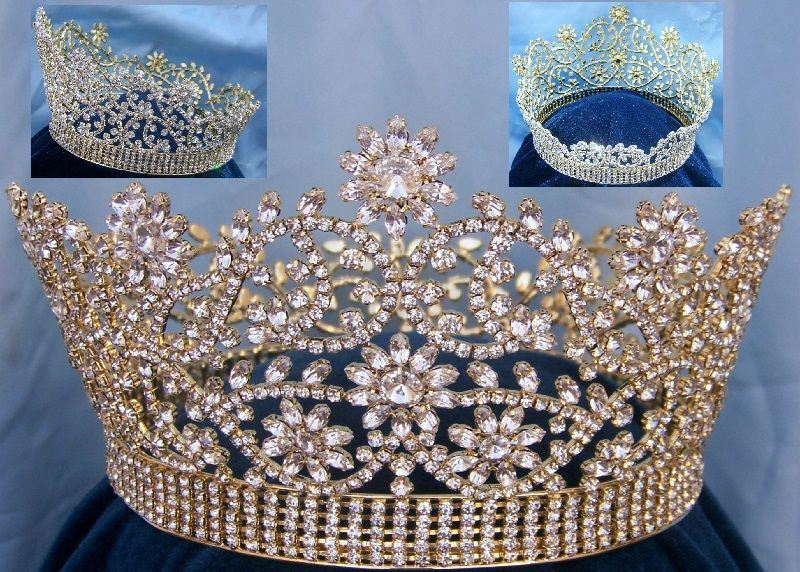 Magestic Floral Gold Full Rhinestone Crown, CrownDesigners