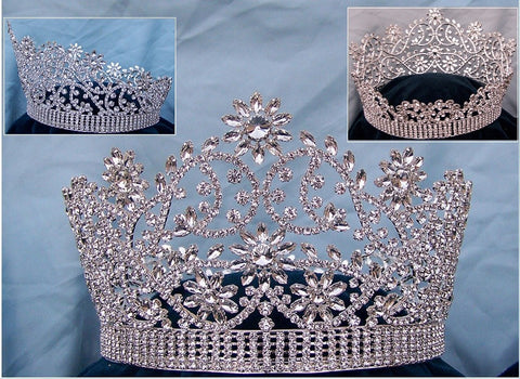 Majestic Floral Silver Full Rhinestone Crown - CrownDesigners