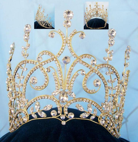 Large GOLD Leaey-Spray 1905 English Pageant Crown - CrownDesigners