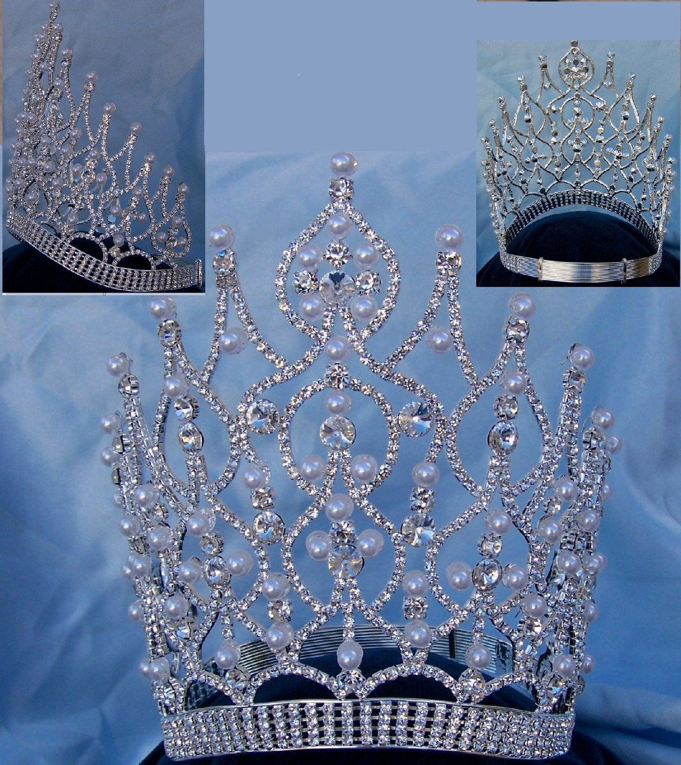 Large Beauty Pageant Rhinestone Adjustable Contoured Pearl Silver Crown - CrownDesigners
