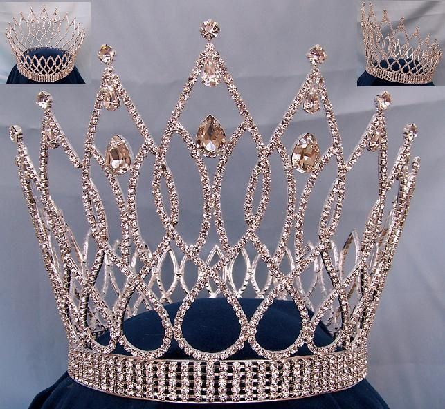 Exquisite Teardrop full rhinestone Crown, CrownDesigners