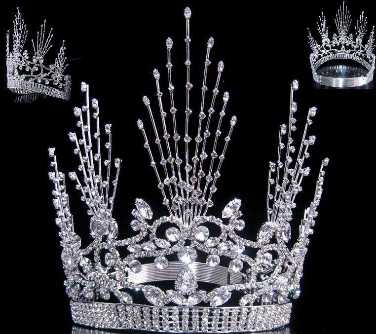 Miss Beauty Queen Pageant Contoured Rhinestone Crown - CrownDesigners