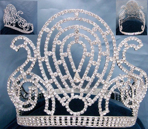 Universal Empress Pageant Rhinestone Contoured Crown, CrownDesigners