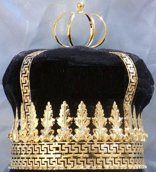 Imperial State Mens King Rhinestone Gold and black Crown, CrownDesigners
