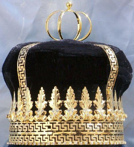 Imperial State Mens King Rhinestone Gold and black Crown - CrownDesigners