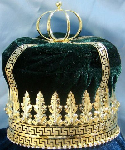 Imperial State Mens King Rhinestone Gold and Emerald Green  Crown - CrownDesigners