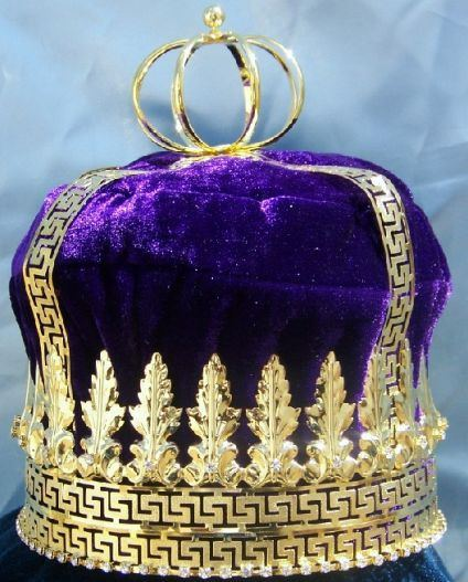 Imperial State Mens King Rhinestone Gold and Purple  Crown - CrownDesigners