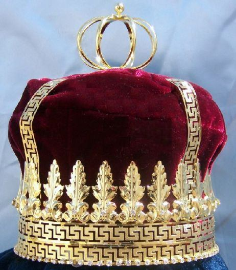 Imperial State Mens King Rhinestone Gold and Red Crown - CrownDesigners