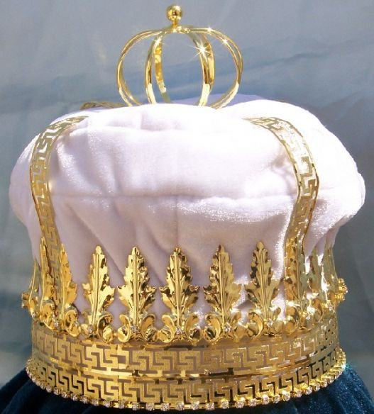 Imperial State Mens King Rhinestone Gold and White Crown, CrownDesigners