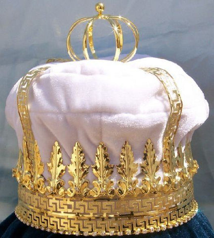 Imperial State Mens King Rhinestone Gold and White Crown - CrownDesigners